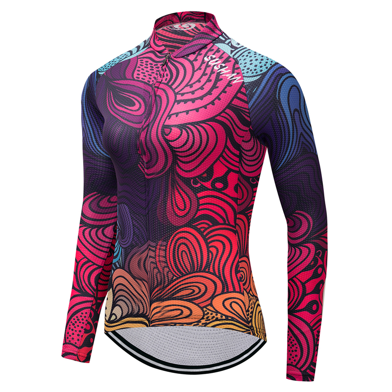 New Cycling Jersey Long Sleeve Women Gel Pad Quick Dry MTB Road Bike Bicycle Breathable Clothing Long Sleeve Sport Jersey K8402 west biking mtb road bike jacket 3d gel padded bicycle pants breathable quick dry cycling clothing bicycle bike jersey pants