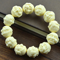 Buddha head beads bracelets 17 x19mm Buddha face imitation ivory bracelet men wholesale lucky bracelets bangles new gifts