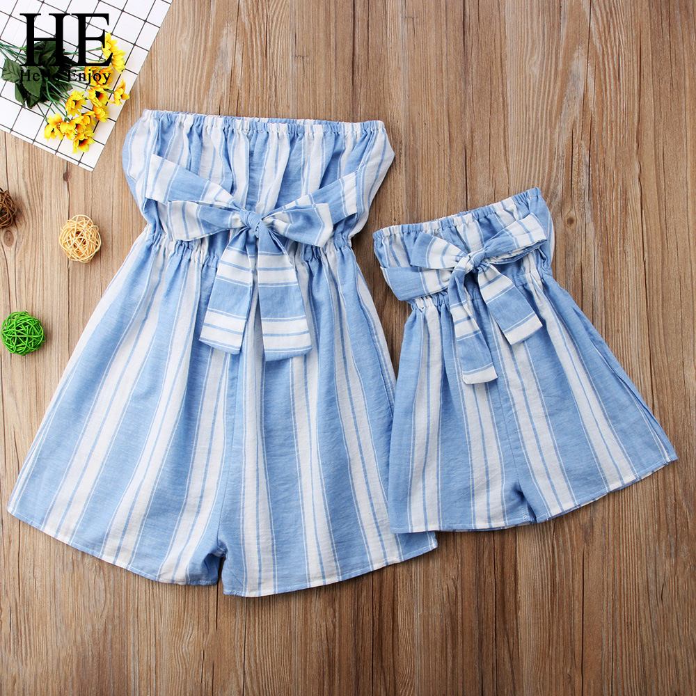 HE Hello Enjoy Family Matching Clothes Women Swimsuit Beach Dress Off Shoulder Stripe Bowknot Jumpsuit Mother Daughter Dresses