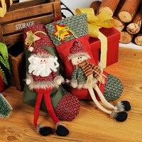 2 Piece Lot New 2016 Hot Sale Christmas Stocking Sequins Socks Xmas Tree Oranment Gift Bag