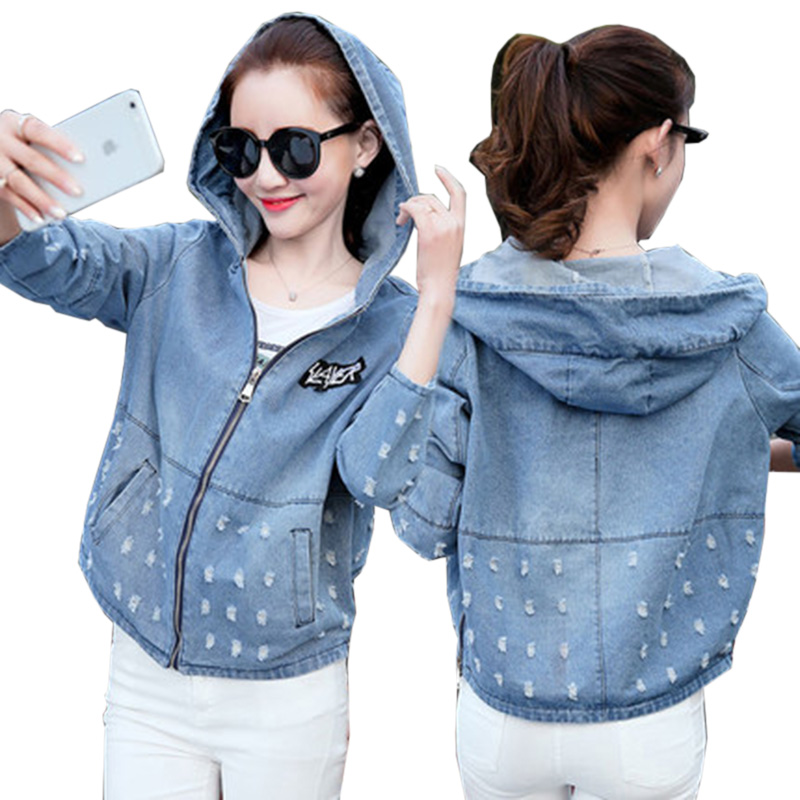 New Hooded Denim   Jacket   Coat Women Spring Autumn   Jacket   Women Patch Designs Long Sleeve Kawaii Jeans   Basic     Jacket   With Hole