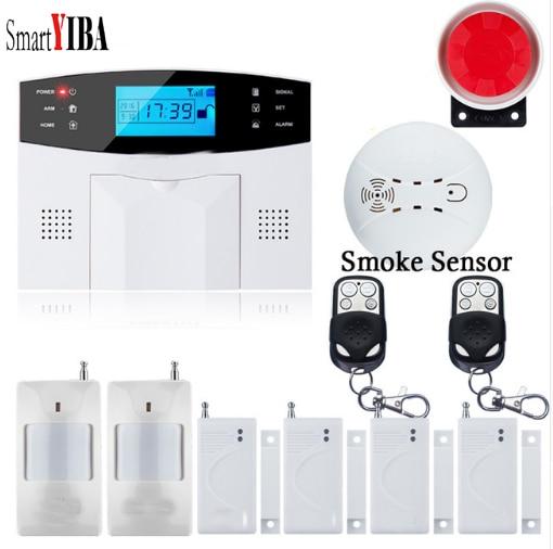 SmartYIBA Russian French Spanish Italian Voice Wireless Wire GSM SMS Home Security Alarm System Smoke Fire Sensor Alarm Intercom цена 2017