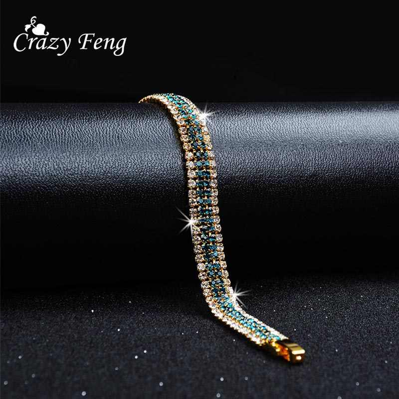Fashion Brand Designer Charming Bride Wedding Crystal Bracelet Women Jewelry Shiny Rhinestone Chain Bracelet for Female 2018 New