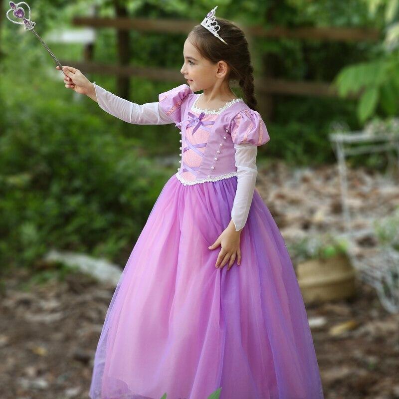 Filles Fantasia princesse raiponce vêtements fille Halloween fête robes enfants violet fantaisie emmêlé raiponce robe de bal