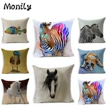 Monily Nordic Animals Linen Cushion Cover Bulldog Zebra Horse Fish Decorative Pillow Covers Cojines Pillow Cases Home Decor