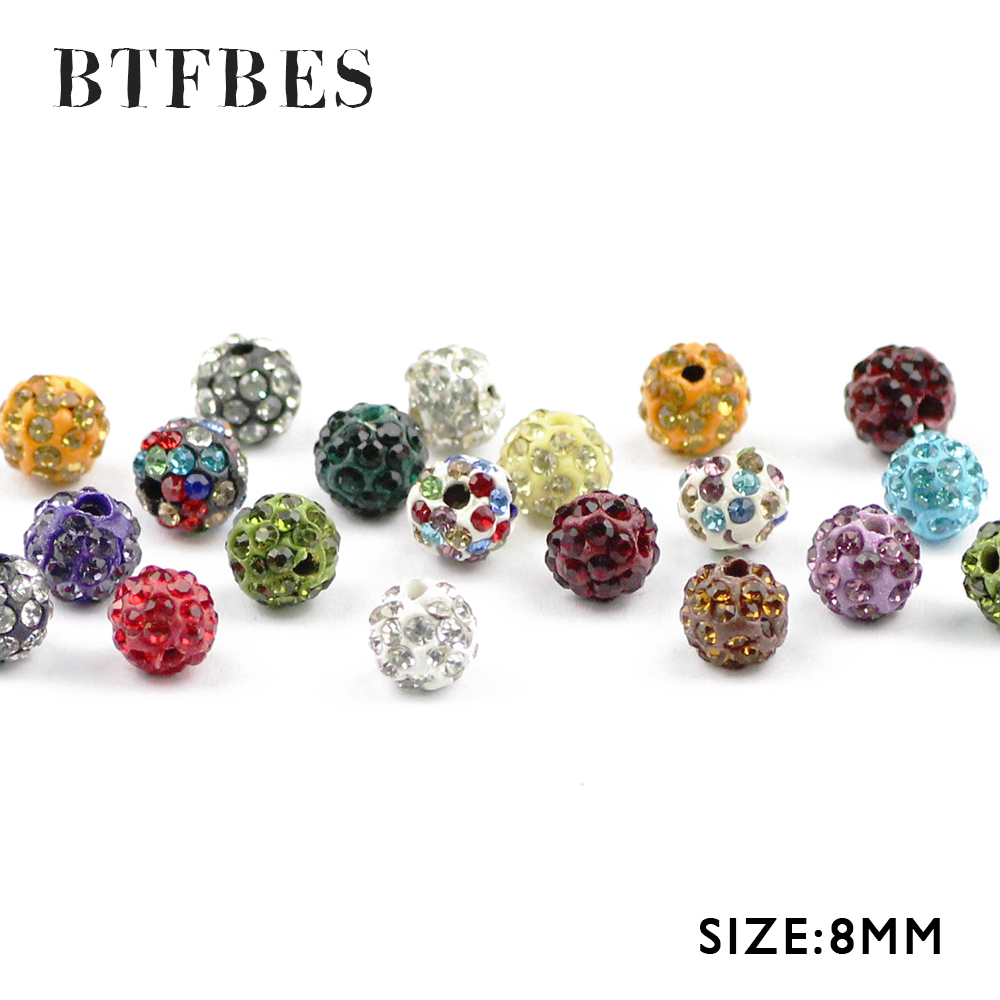 Beads Jewelry & Accessories Btfbes 8mm Earrings Pendant Mixed Color Pave Clay Crystal Beads Disco Ball Loose Beads For Jewelry Bracelet Making Diy Accessory Regular Tea Drinking Improves Your Health