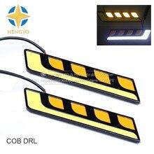 цена на 2PCS Universal COB DRL Light Daytime Running Light White Yellow Dual Color Car Light Source Fog Lamp DC 12V