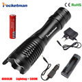 zk50 4000LM Aluminum CREE XM-L T6 LED E17 Torches Zoomable LED Flashlight Torch Lamp  batteries two chargers Free Shipping
