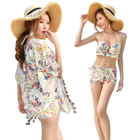 2017 Summer New Floral Bikini Sexy Women Swimwear Hot Girl Push Up Bikini 3 Pieces Swimsuit
