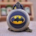 Новая Мода Черный Бэтмен Черный/Бронза/Серебряный Купол Драгоценных Камней Ожерелье Кварцевые Карманные Часы Мужчины Женщины Карманный Брелок смотреть Подарок