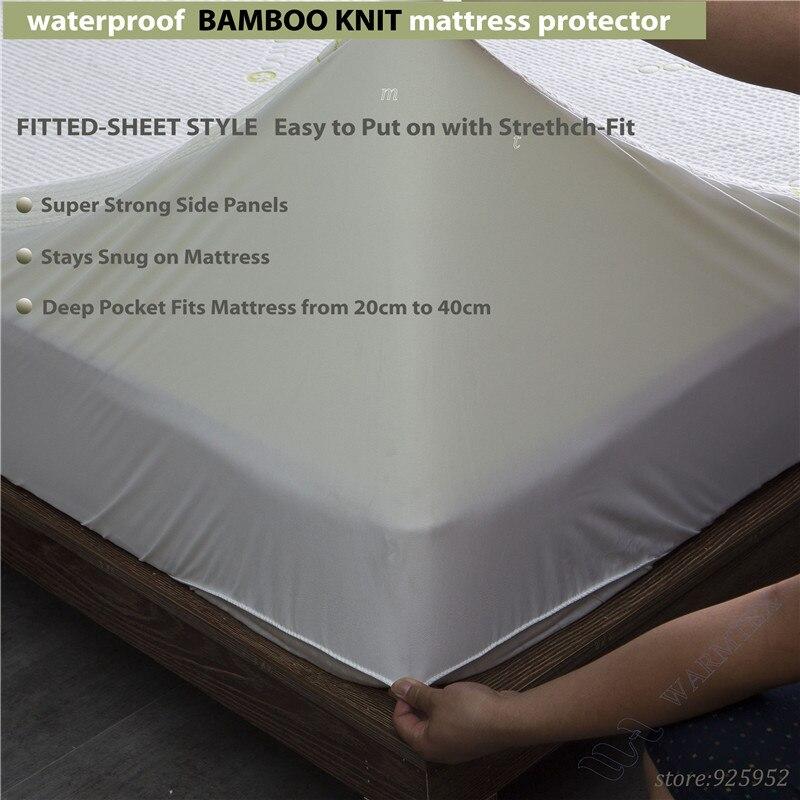 full size 1.35m bed waterproof Beautiful Bamboo Jacquard mattress Protector jacquard cloth100% Waterproof W009 A