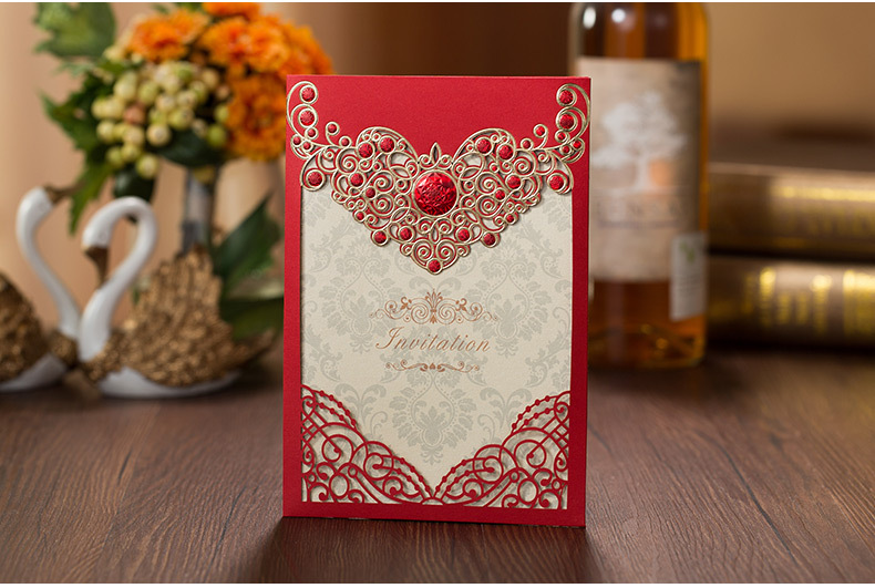 Hoge kwaliteit huwelijksuitnodigingskaart Rode 3D-decoratie 185 * 127 - Feestversiering en feestartikelen