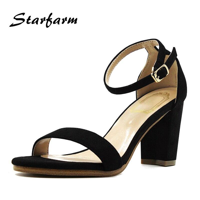 ФОТО 2017 summer sandalis woman black leather toe high heel sandals suede flock genuine leather red wine women shoes Yz001