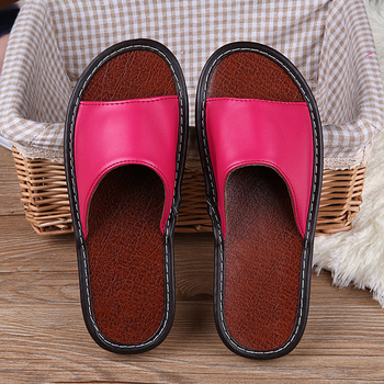 STONE VILLAGE High Quality Summer Leather Slippers Shoes Non-Slip Indoor Home Slippers Couple Men And Women Slippers Shoes