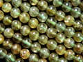 Envío libre natural 6-6.5mm verde apatito suave ronda encanto de la gema de piedra para la fabricación de joyas de diseño