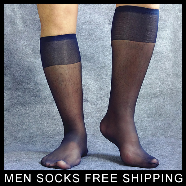Mens Ultra thing Socks See thru Hose for Male Sheer Navy suit socks Stocking Sexy formal dress sox Fashion High quality