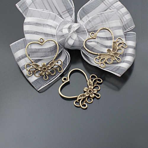 (31520) 20 Pcs Zinc Alloy Bentuk Hati dengan Bunga Anting-Anting Konektor Pesona DIY Temuan Perhiasan Grosir Aksesoris