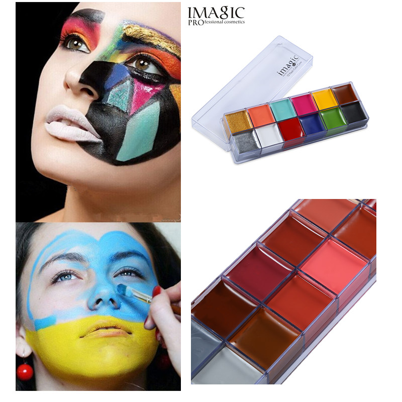 body painting flash tattoo imagic brand 12 colors face paint palette halloween makeup temporary. Black Bedroom Furniture Sets. Home Design Ideas