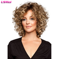 short blonde wig kinky cruly wig synthetic fashion perruque african american wigs for women natural cheap hair wig perucas