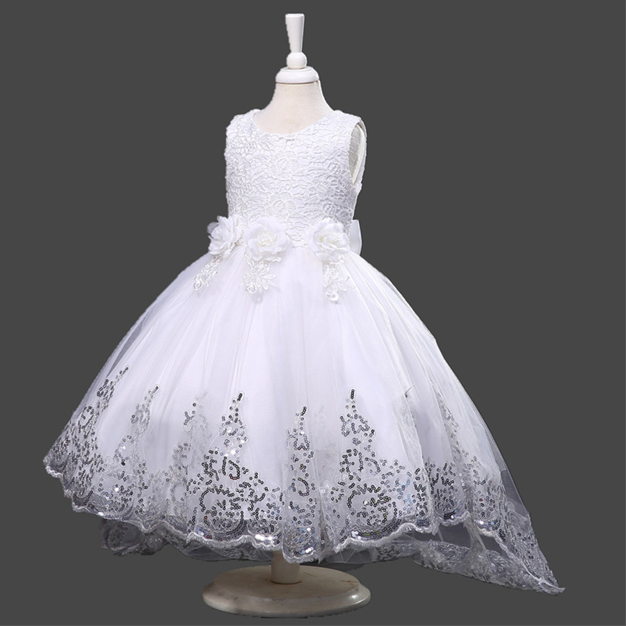 Chinese Style Kids Girls Evening Flower Bow Formal Party Ball Gown Prom Princess Bridesmaid Wedding Children Tutu Dress girl zq9 kids girls bridesmaid wedding toddler baby girl princess dress sleeveless sequin flower prom party ball gown formal party xd24 c