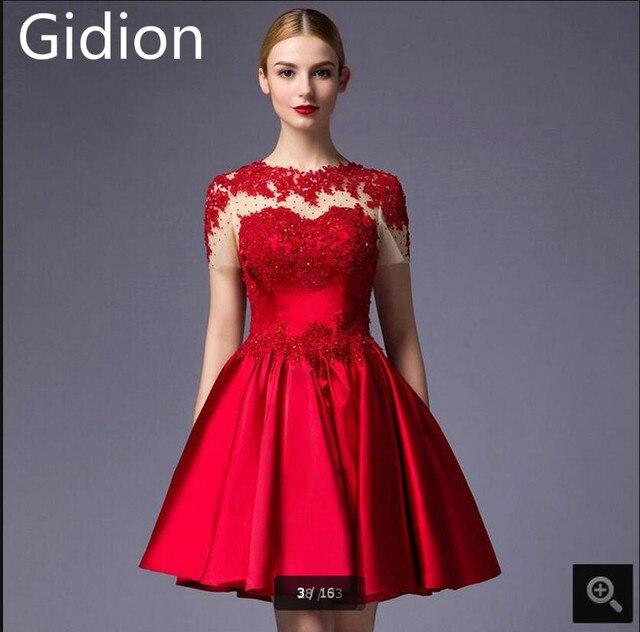 Nuevo diseño barato de encaje rojo corto vestido de fiesta apliques ...