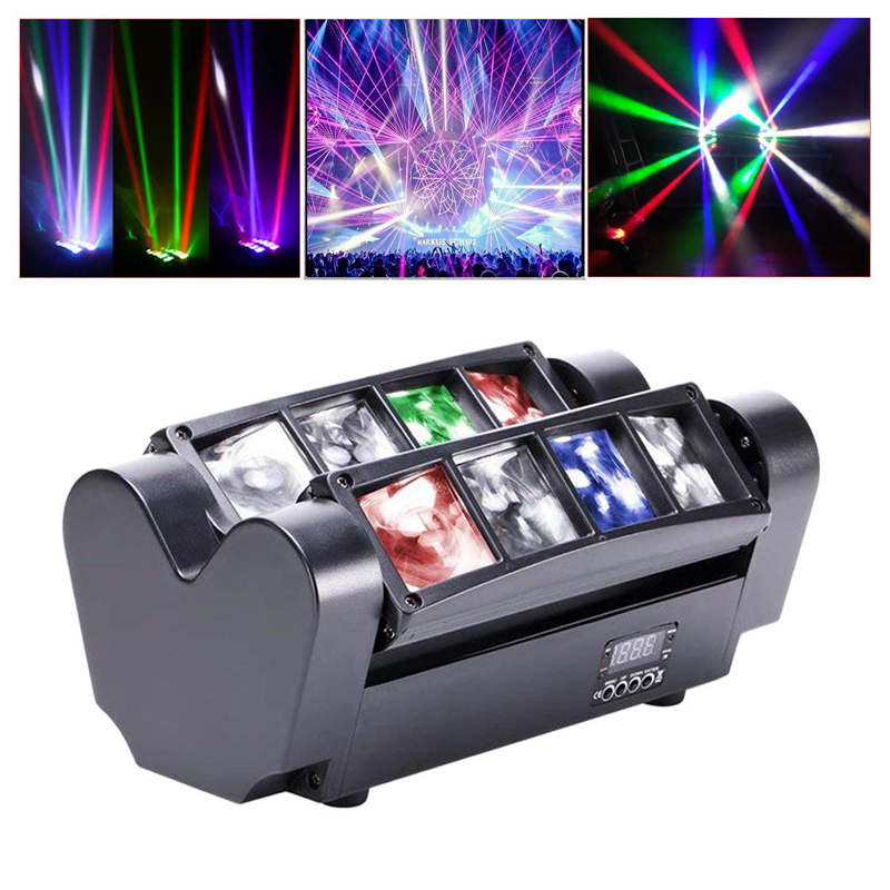 Free Shipping 8*10W LED Mini Spider Beam Wash Stage Equipment Effect Light For DJ Disco RGBW Full  Color DMX Projector Lighting