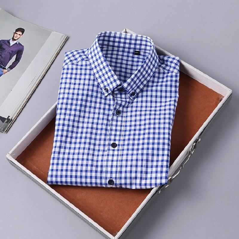 2018 Summer 100% Cotton Button Down Blouse Shirt European Designer Plaid Men's Business Fashion Short Sleeve Shirts Blue 8008