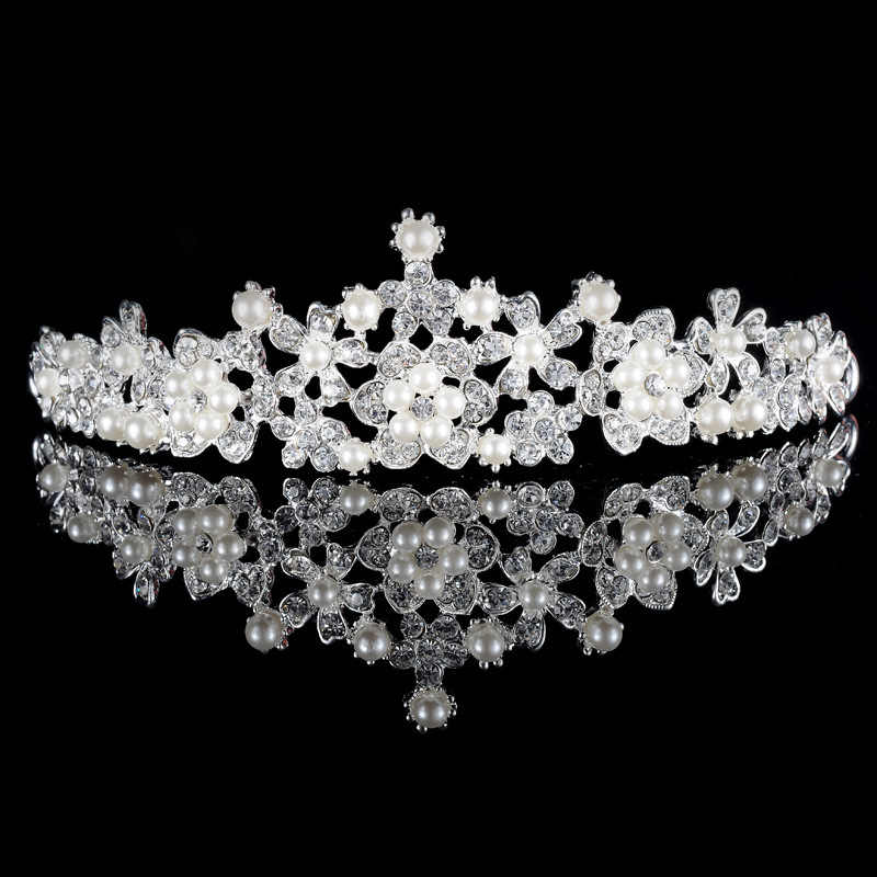 2019 Women Princess Crown Headband Crystal Rhinestone Tiara And Crowns Hair Band Jewelry Silver Bridal Hair Accessories Wedding