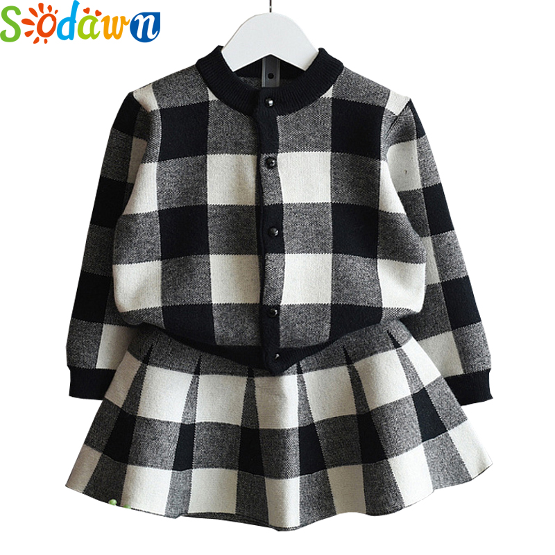 Sodawn New Autumn Girls Clothing Sets 2Pcs for Kids Suits Grid Long Sleeve Jacket +skirt Children Clothing