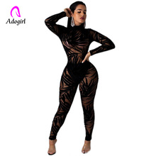 Sexy Mesh Patchwork Jumpsuit Women Rompers Bamboo Leaves Print Jumpsuit Women Turtleneck Black Bodycon See Through Club Romper flounce layered neckline leaves print jumpsuit