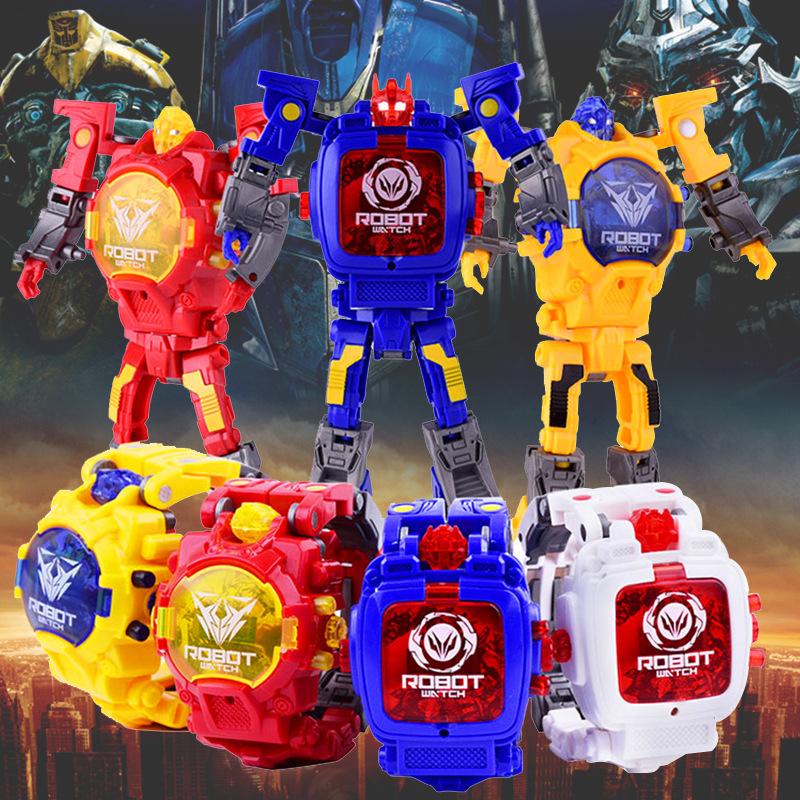 Deformation Robot Children Watch Transformers Electronic Kids Watches Baby Educational Toys Digital Wristatches Boy Girl Clock