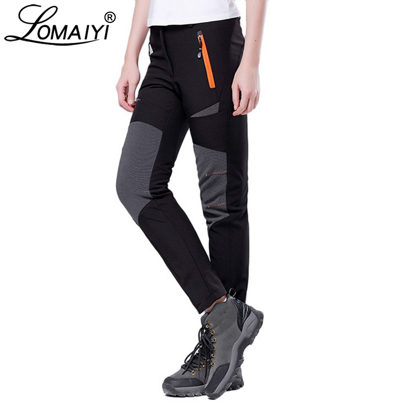 LOMAIYI Women Pants Female Winter Snow Waterproof Fleece Lining Trousers Women's Stretch Sweatpants Plus Size Black Pants AW077