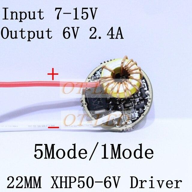 Cree XLamp XHP50 6V LED Driver 22MM DC7V-15V Input 2400mA Output 5Mode /1Mode For XHP50 LED Light Lamp