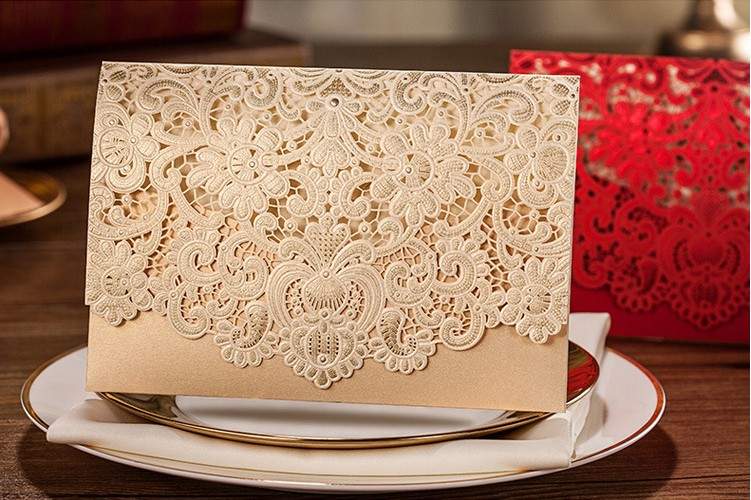 Perfect Wedding Invitation Card 185*127cm Invitation Card Wedding Card With Inner Paper Envelope And Seal Red Gold White 1 design laser cut white elegant pattern west cowboy style vintage wedding invitations card kit blank paper printing invitation