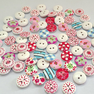 100pcs 15mm Mixed round retro Floral printing pattern wood decorative button2 holes Sewing wood button flatback Scrapbook