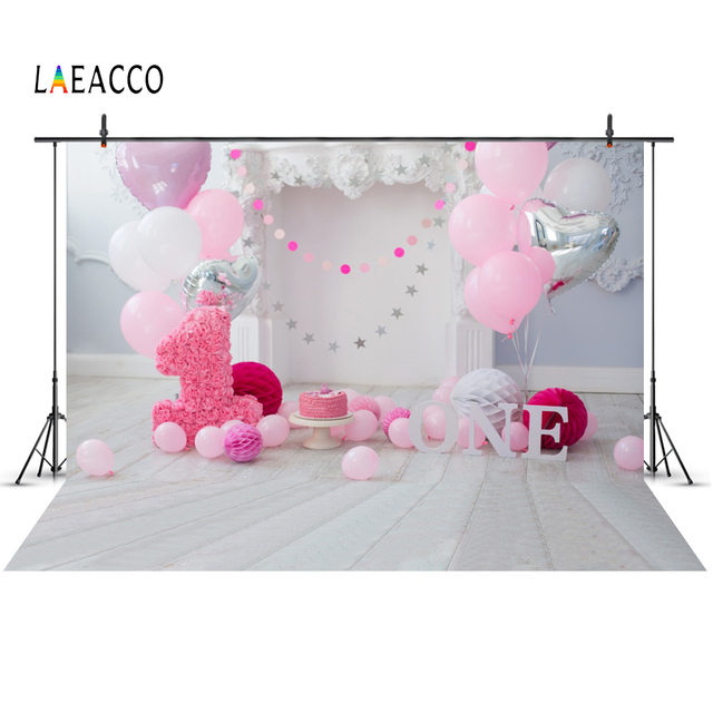 Pink Balloons Backdrops Baby 1st Birthday Party Flower Fireplace Gray Wooden Floor Photocall Photography Background Photo Studio