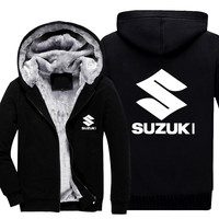 New Autumn Winter Suzuki Hoodie Sweatshirt Advertising Jacket Thickening Coats Zipper Fleece Funny