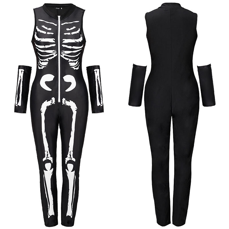 Women Halloween Jumpsuits Costumes Ghost Festival Horror Skeleton Conjoined Gowns Party Sexy Performance Rompers Cosplay Clothes (47)