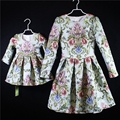 Brand design embroidary dress women 3XL girls 1Y-16Y baby girl party dress family matching outfits mother and daughter dresses