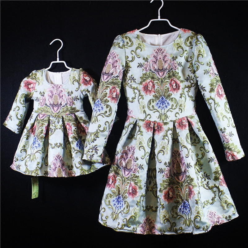 Brand design embroidery dress women 3XL girls 1Y 16Y baby girl party dress family matching outfits mother and daughter dresses