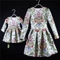 Design da marca bordado do vestido de mulheres 3XL meninas 1Y-16Y party girl baby dress combinando roupas da família mãe e filha vestidos