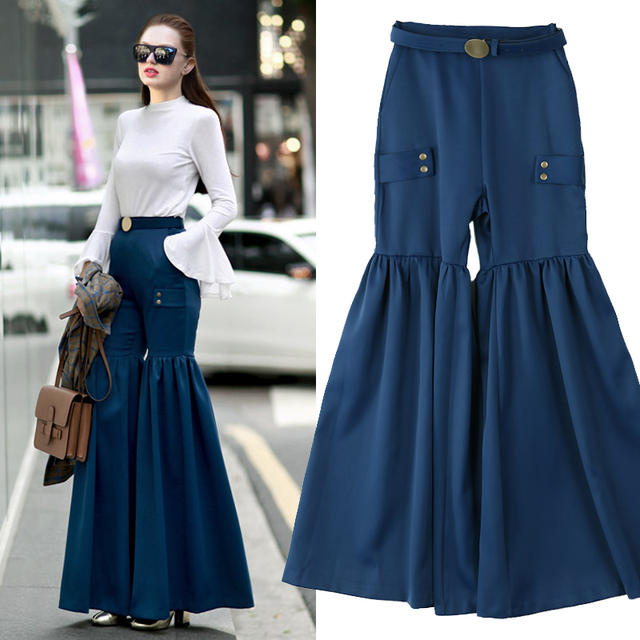 [CHICEVER] 2017 Spring Fashion High Waist With Belt Pleating Spliced Wide Leg Pants Women New