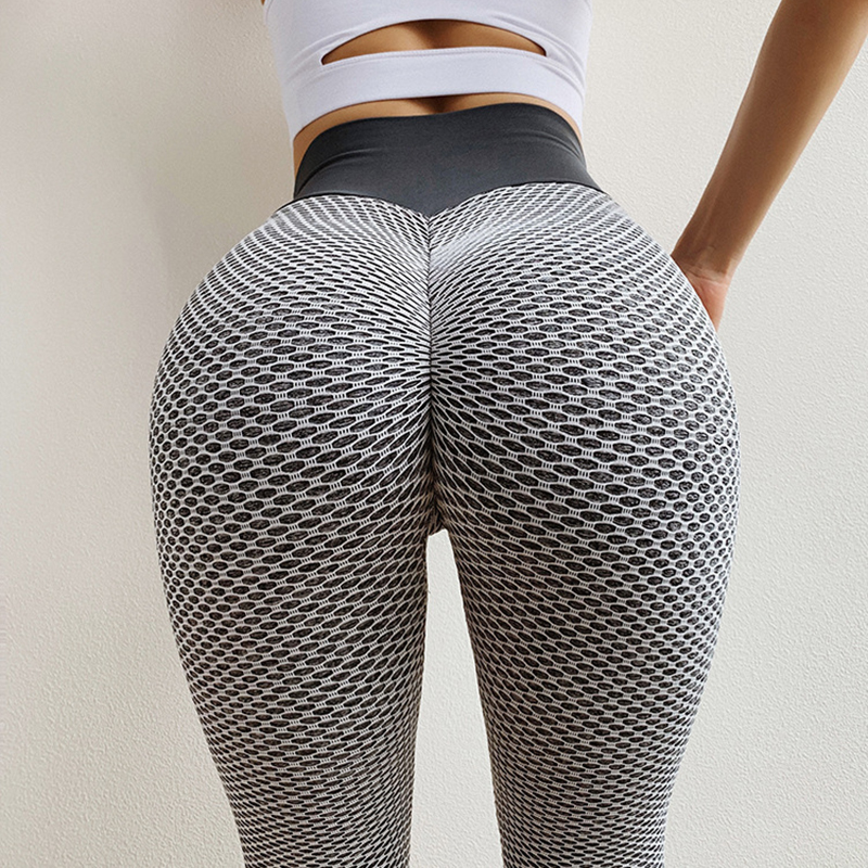 CHRLEISURE Knitting Peach Hip Women's Fitness Leggings Sexy Mesh Casual High Waist Leggings Stitching Fashion Push Up Legins
