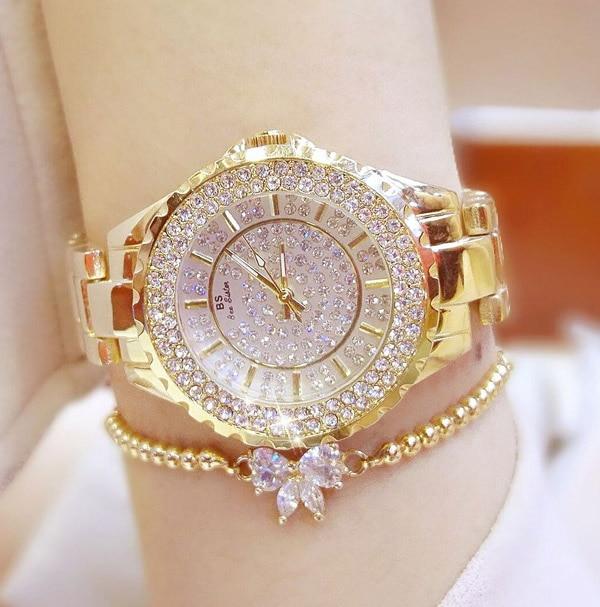 New Fashion Famous Brand Full Diamond Bracelet Quartz Watch Luxury Lady Dress Watch Rhinestone Bling Crystal Bangle Watches