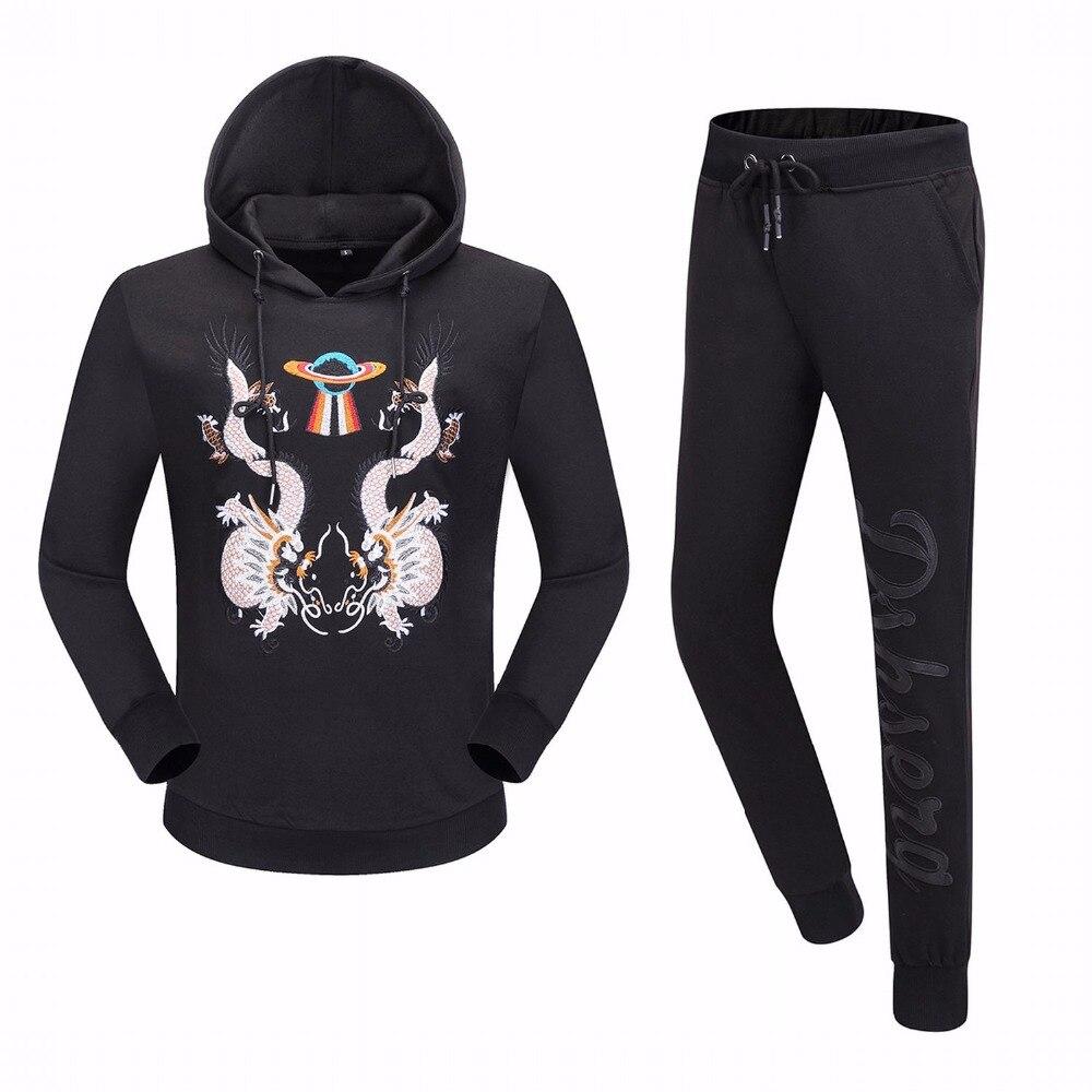 ECTIC Men black suit Dragon alphabet printing casual set fashion man hoodie or pants 100% COTTON M-XXL
