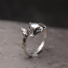 New Fashion Cute Sterling Silver 925 Fire Fox Long Tail Rings for Women Adjustable Open Ring Animal Jewelry Birthday Girl Gift