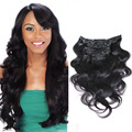 Nueva Venta Caliente 16-26 Pulgadas 8 Unids de Clip Remy Indio En Extensiones de cabello Natural 1B Negro 100-220g Ins Clip On Para Mujeres belleza