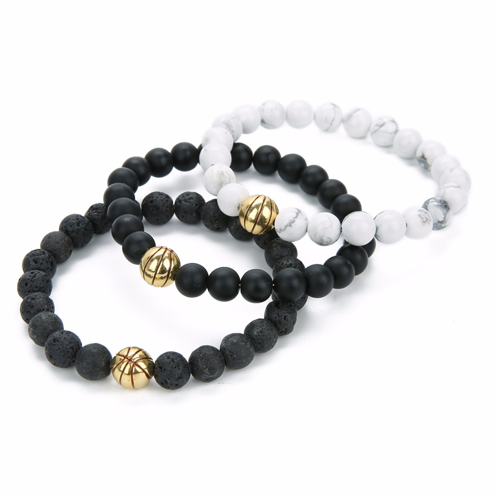 New Lava Stone Basketball Charms Bracelet Sports Basketball Beads Bracelet Baseball Charm Bracelets for Women Christmas Gift