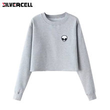 Aliens Printing Hoodies Sweatshirts harajuku Crew neck Sweats Women Clothing Feminina Loose Short Fleece Jumper Sweats(China)