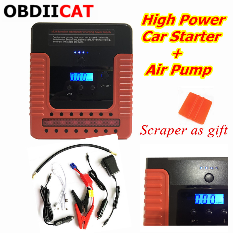 New Starting Device 400A Digital display Car Jump Starter Air Pump Car Starter For Car Battery Charger Perfect Air Compressor|Jump Starter| |  - title=